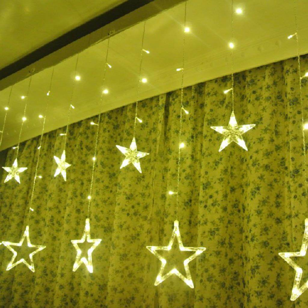BolehDeals LED Fairy String Curtain Light with Star Pendant for Wedding Engagement Party Christmas Decoration, US Plug Singapore