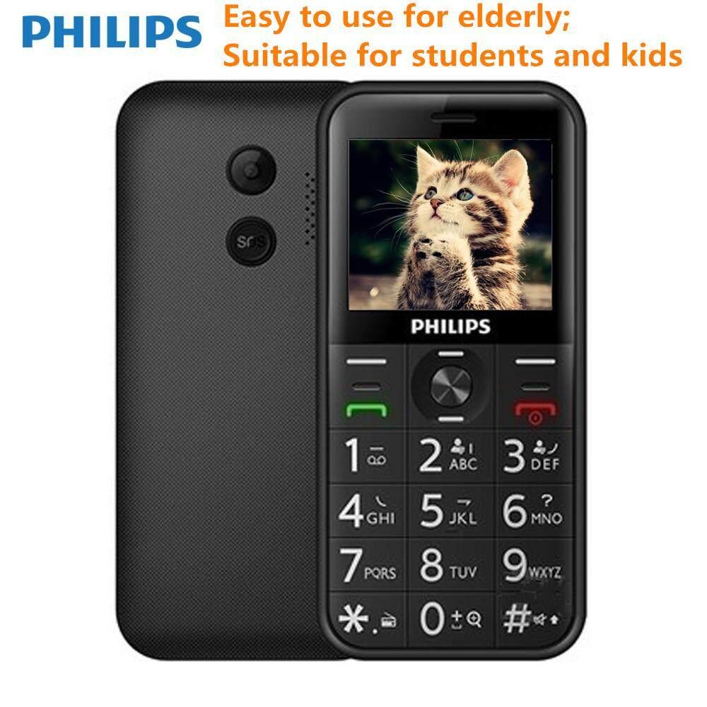 Philips E163K Dual SIM Standby Dalam Waktu Lama 2G Fitur Tua Telepon untuk Orang Tua Siswa Anak dengan MB RAM 32 MB ROM