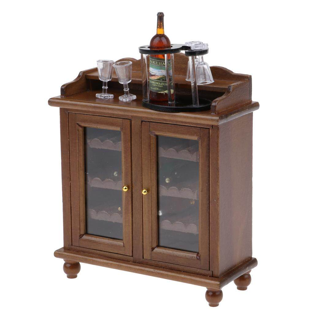 Bolehdeals 1 12 Dollhouse Miniature Furniture Wine Cabinet Rack Gl Set Decor
