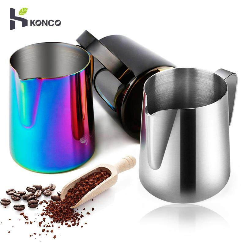 Konco 350ml Espresso Coffee Milk Frothing Pitcher, Stainless Steel Creamer Macchiato Cappuccino Latte Art Making Pitcher Cups-350ml By Konco