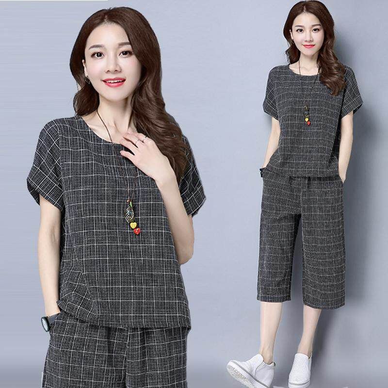 Mm Baju Wanita Set Model Baru Modis Agak Gemuk Terlihat Langsing Ukuran Besar Gaya Barat Perempuan Busana Musim Semi Dan Musim Panas Kain Linen Kulot Set Dua Potong By Koleksi Taobao.