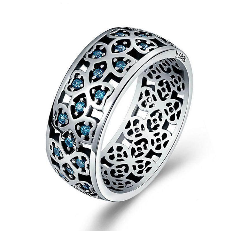 925 Perak Berkilau Bunga Cinta Semanggi Manis Biru Danau Cincin CZ untuk Perhiasan Pertunangan Wanita Ukuran