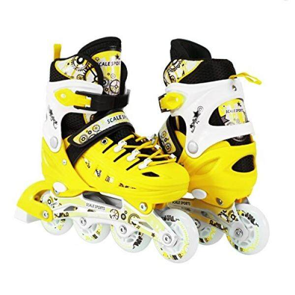 Kids Adjustable Inline Roller Blade Skates Long Feng Yellow Sizes Safe  Durable Outdoor Featuring Illuminating Front ... 823b741429