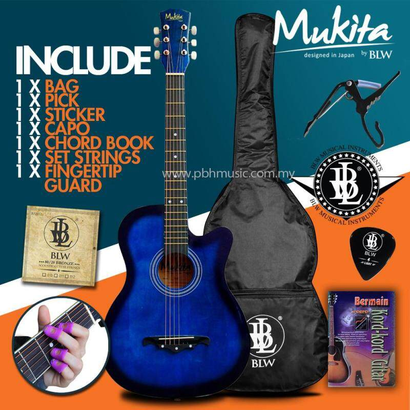 Mukita by BLW Standard Acoustic Folk Cutaway Basic Guitar Package 38 Inch for beginners with Bag, Pick, Capo, Chord Book and Merchandise Sticker (Blue) Malaysia