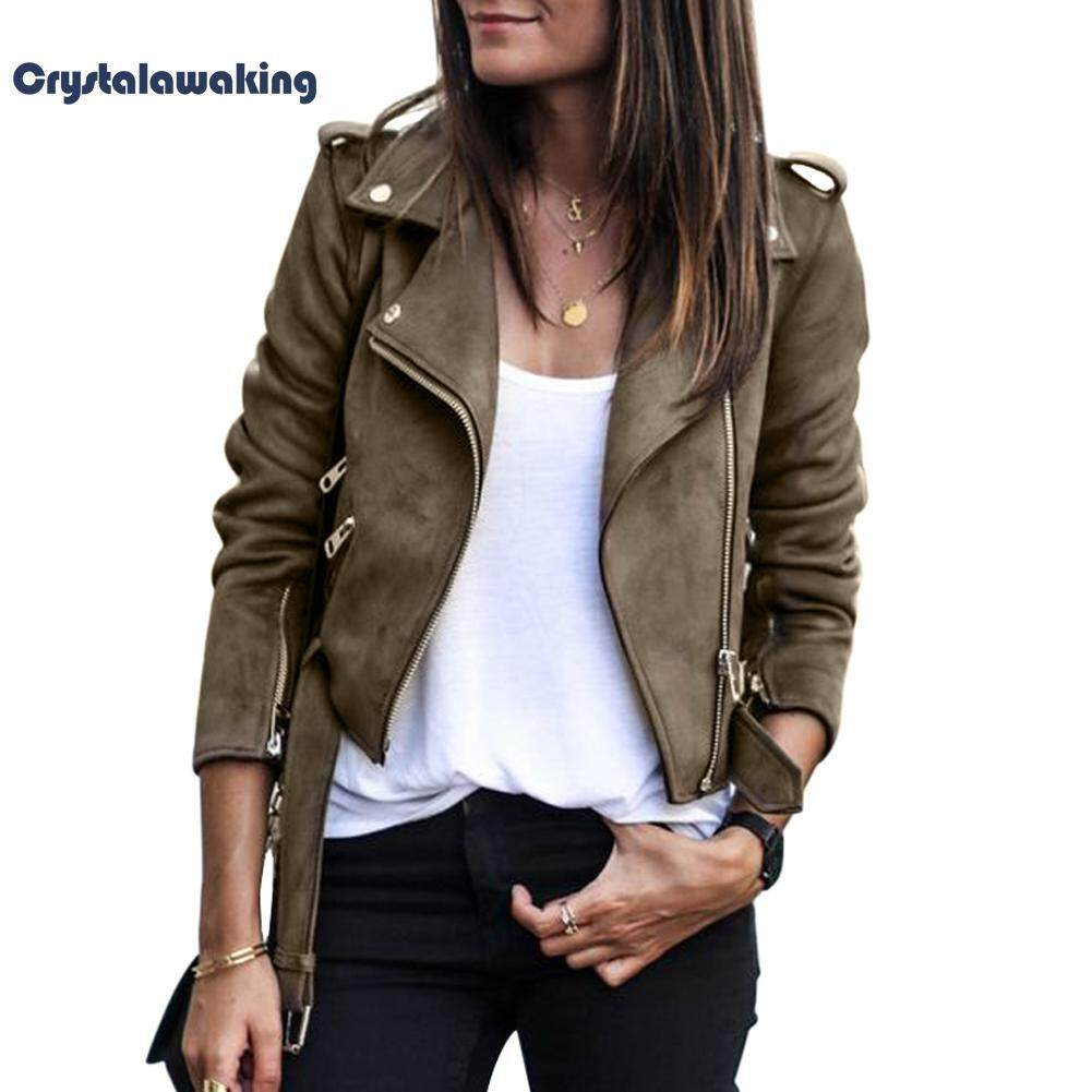 Women Coat Casual Suede Fabric Fashion Outwear Slim Short Jacket Tops(coffee)-Int:s By Crystalawaking.