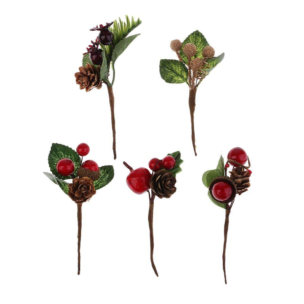 Bolehdeals 5 Bouquets Plastic Fake Small Berries Pine Cone Artificial Flower For Wedding Diy Gift Box Greeting Wish Cards Embellishment By Bolehdeals.