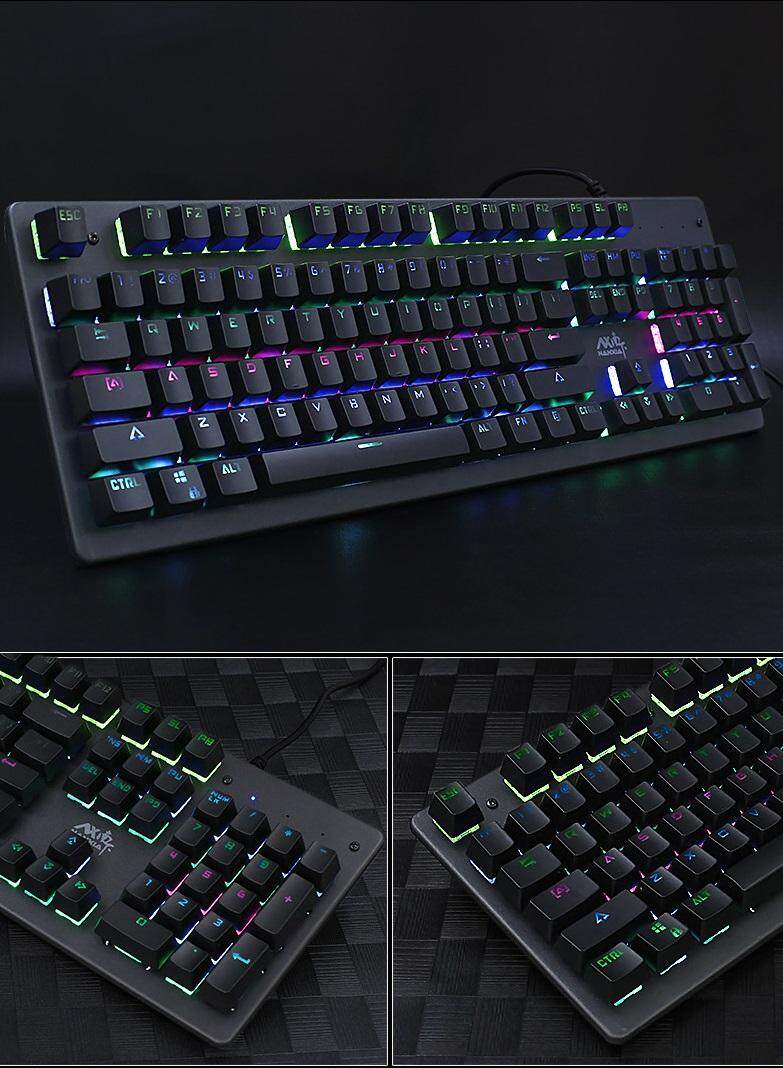 RGB LED Backlit Mechanical Gaming Keyboard Anti-Ghosting With Blue Switches Malaysia