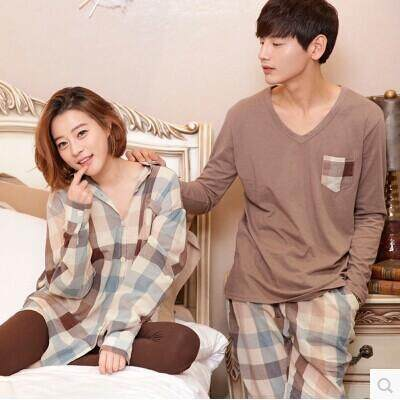 Korean men and women casual Plaid knitted cotton pajamas couple simple long  sleeved pants cardigan casual 5f03ad31f