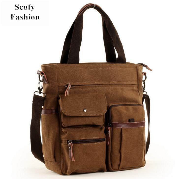 62bd346082 SCOFY Men Fashion Canvas Business Tote Bag Casual Top-handle Bag Cross Body  Bag Leisure