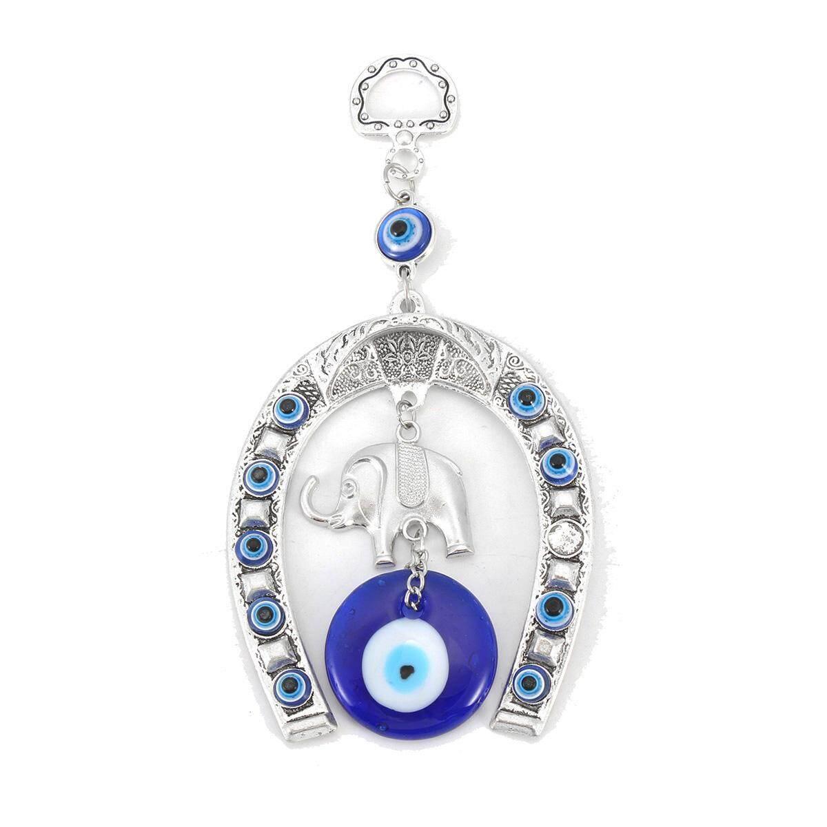 Turkish Blue Evil Eye Horseshoe With Elephant And Ribbon Wall Hanging Amulet By Moonbeam.