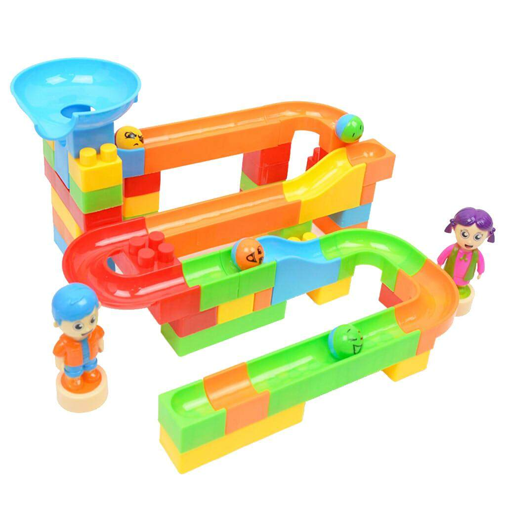 Hình ảnh MagiDeal 60Pcs Plastic Marble Run Building Blocks Construction Toys Set for Kids
