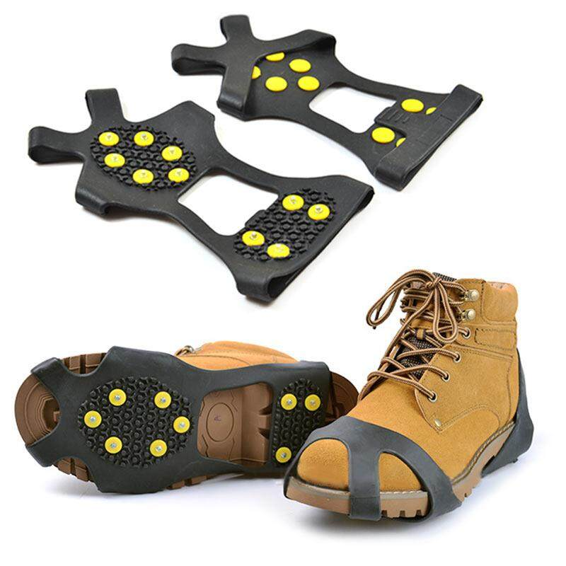 7897e4f1a9d7 10-Stud Winter Climbing No Slip Shoes Cover Ice No Slip Snow Shoe Spikes  Grips