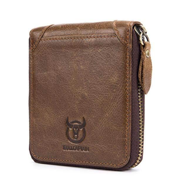 Bullcaptain Men Retro Minimalist Fashion Cowhide 12 Card Slots Short Zipper Wallet