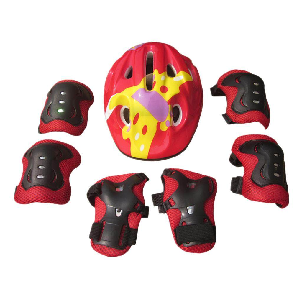 Magideal 7pcs Kid Child Roller Skating Scooter Helmet Knee Wrist Guard Elbow Pad Red By Magideal.
