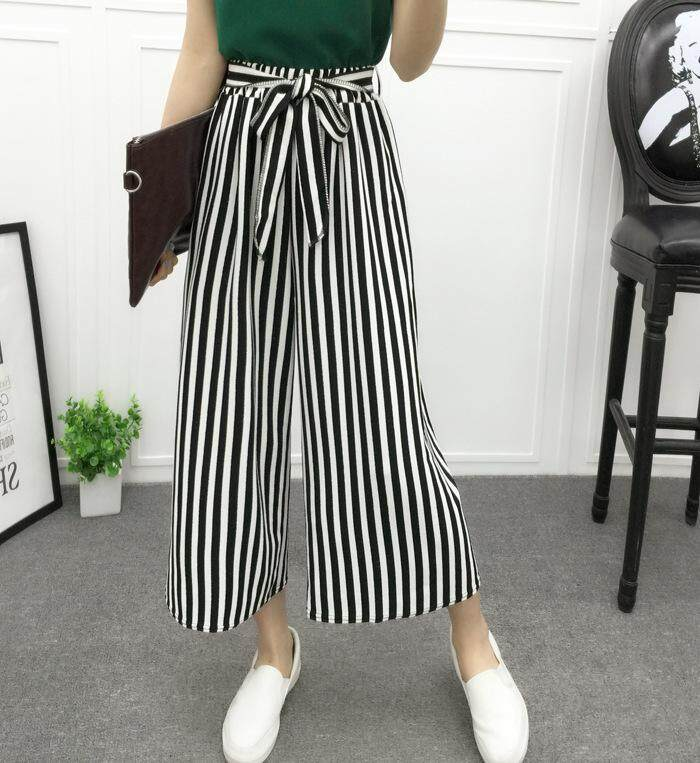 ee766e6d08 Fashion Summer High Waist Plaid Striped Belted Loose Palazzo Pants Office  Ladies Trousers Wide Leg Pants