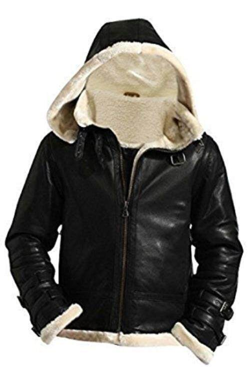 B3 Bomber Terbang Kulit Kulit Domba Asli Removable Hood Bulu Domba Jaket Bulu (Besar, Kulit)-Intl