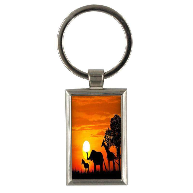 Keychain Silhouette The Tree And Animal On Sunset Backgroun for Keyring Mens Creative Alloy Metal Keyfob Gift Car Key Ring Chain Key chains - intl