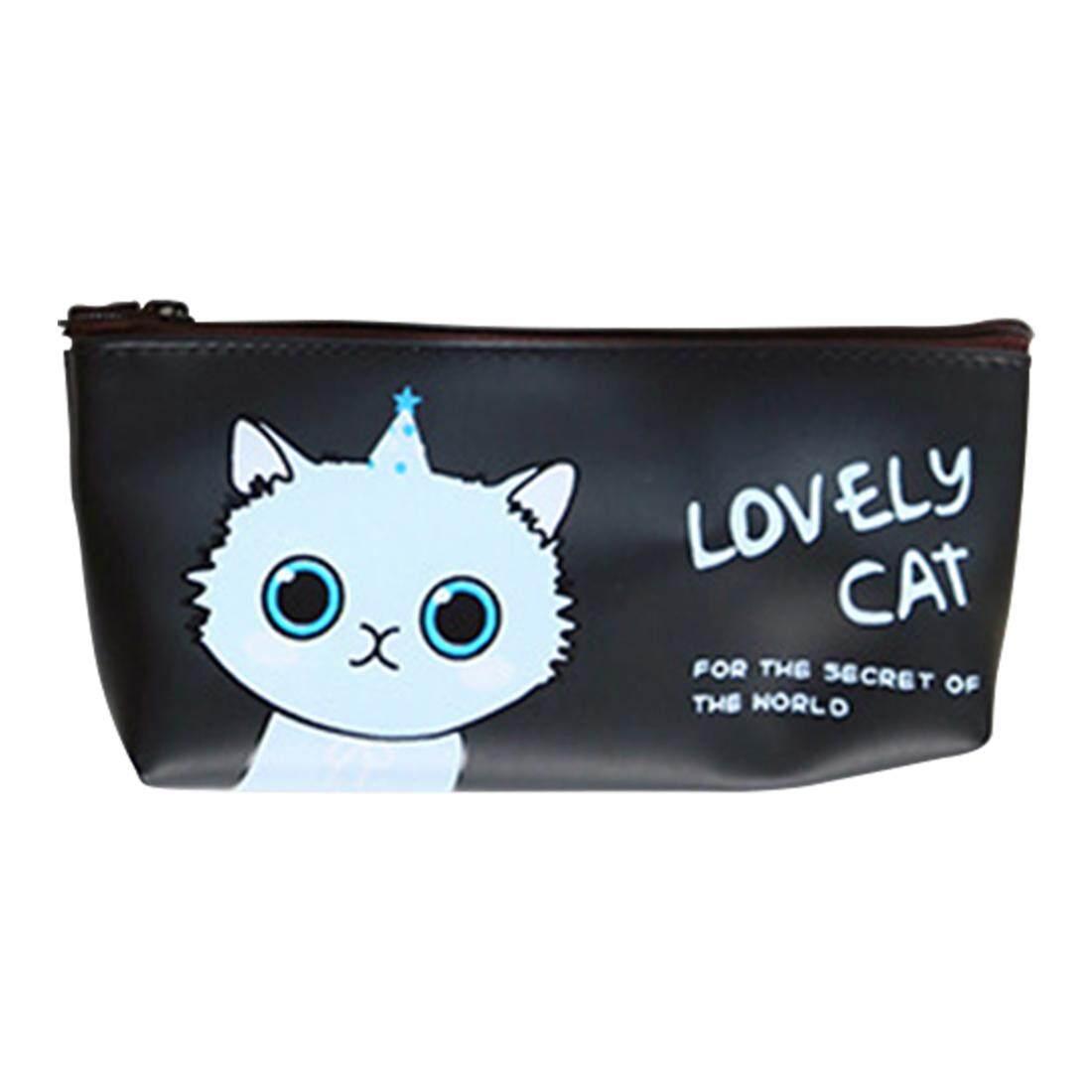 4 Buah Kucing Lucu Dan Bermacam Macam Warna Kain Kanvas Garis Pola Tempat Pensil Bahan Kotak Gambar Kartun Tas Alat Tulis Motif Binatang