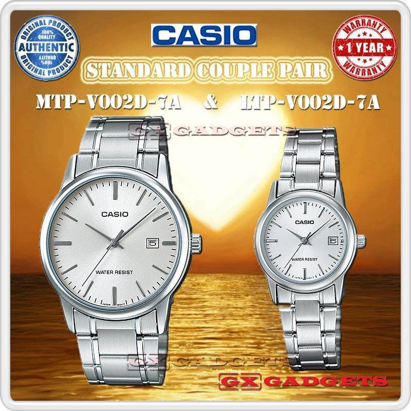 CASIO MTP-V002D-7A + LTP-V002D-7A STANDARD Analog Couple Pair Watch Date Stainless Steel Band Water Resistant MTP-V002 LTP-V002 V002 Series Malaysia