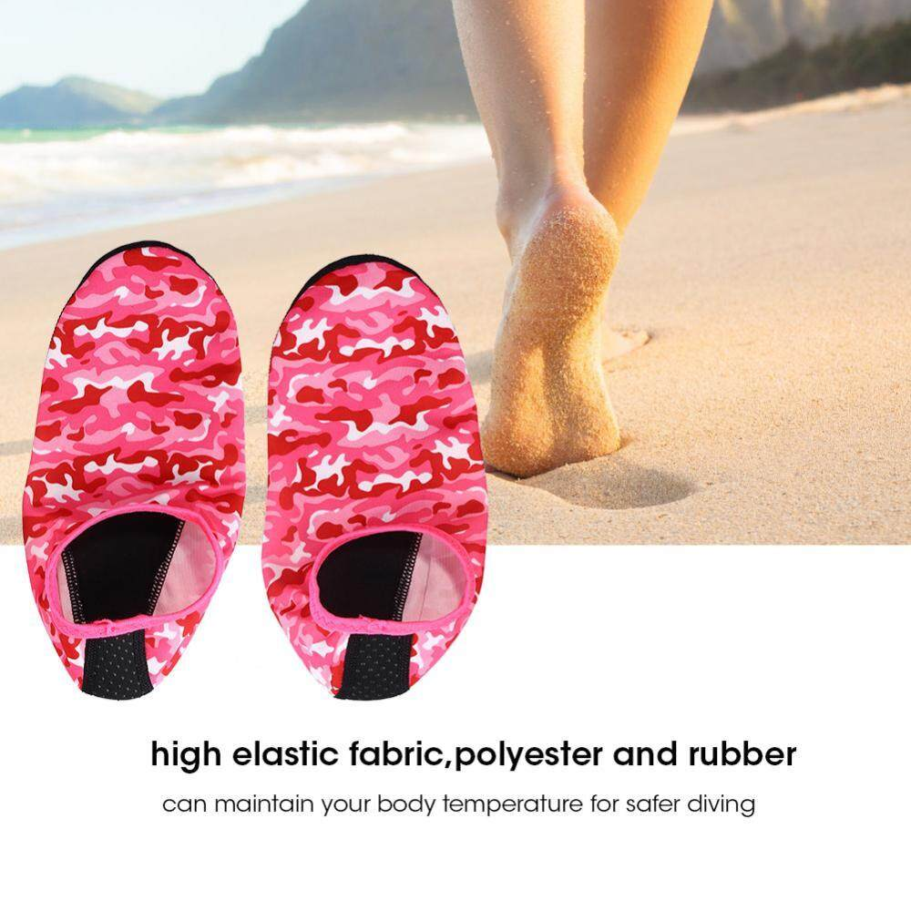 Pria Wanita Non-Slip Snorkel Menyelam Seaside Kaus Kaki Sepatu Pantai Kamuflase (Pink XL