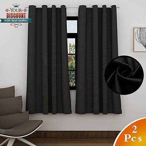 LEFENG Lefeng Blackout Curtains Room Darkening Solid Thermal Insulated Grommet Black Out Window Curtain for Living Room/Bedroom 3 year warranty (2 Panels, W52 X L63 Inches, Black)