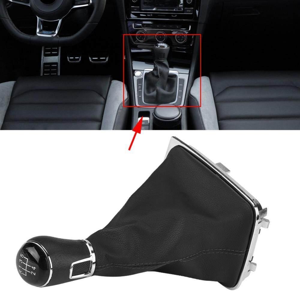 5 Speed Car Gear Stick Shift Knob + Gaiter Boot Cover for VW Golf 7 MK7 2013-2017 - intl
