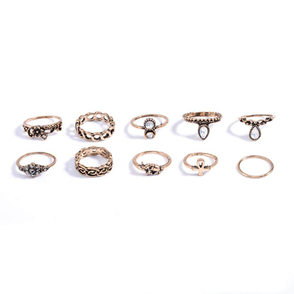Hiqueen 10 Pcs Retro Kreatif Hollow Bunga Pola Geometris Cincin Fashion Personality Rings Set