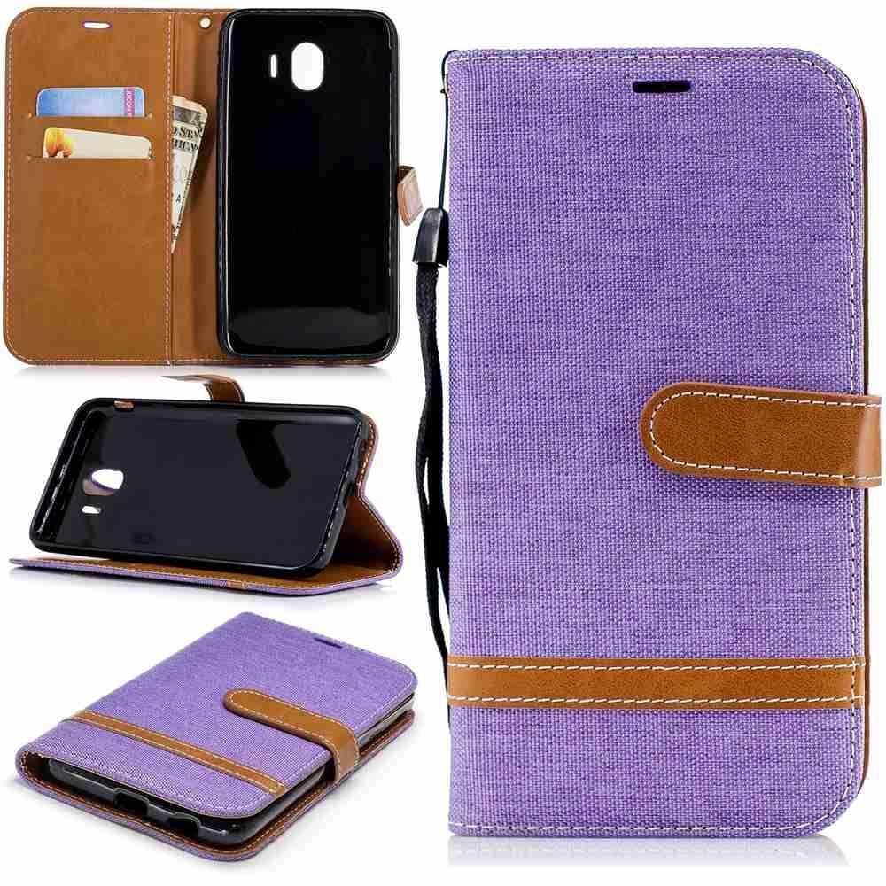 For Samsung Galaxy J4 2018 Denim Premium Design Stand Flip PU Wallet Leather Case Cover -