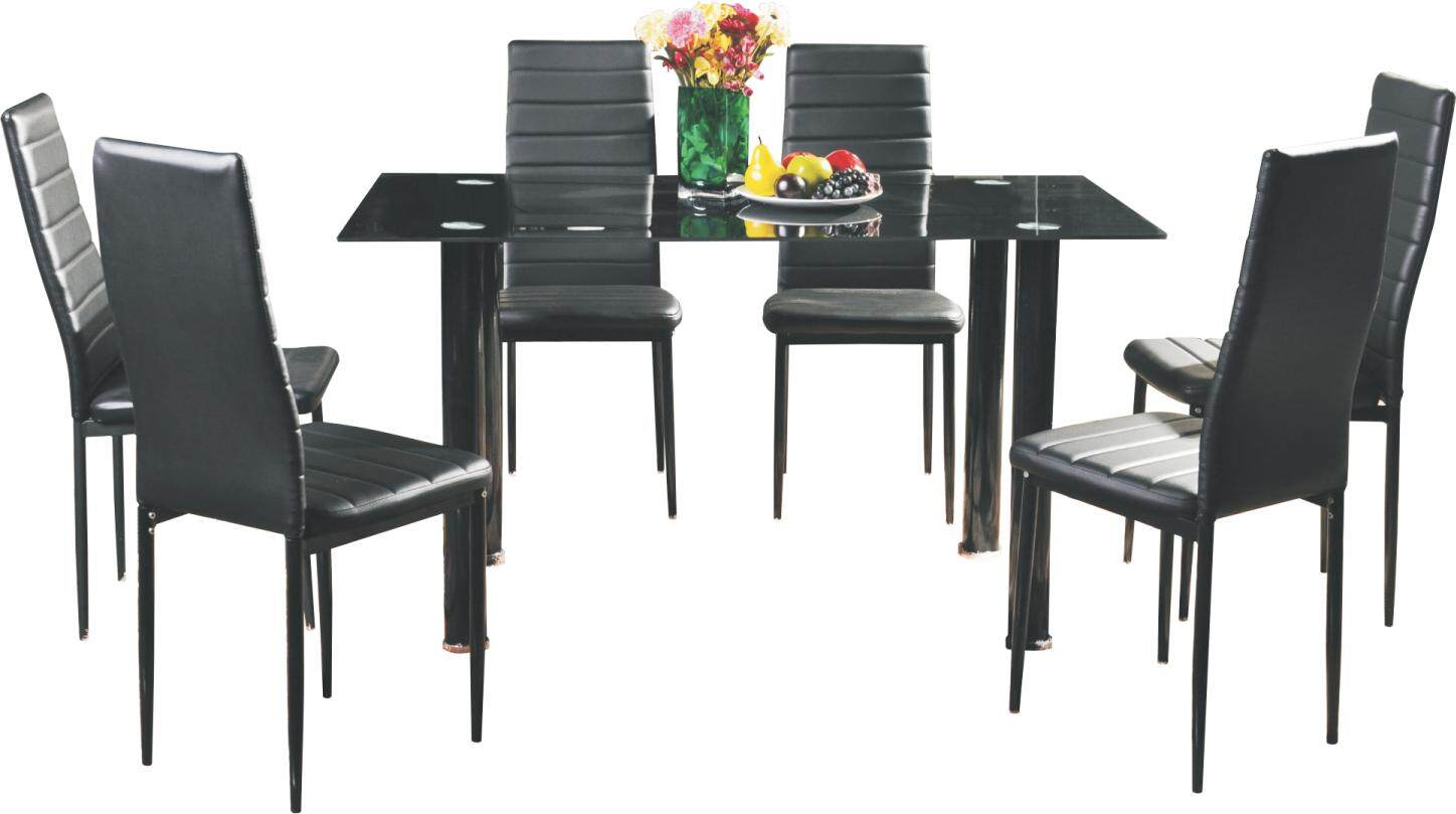 Sergio 1 6 Glass Top Dining Set Table Chairs