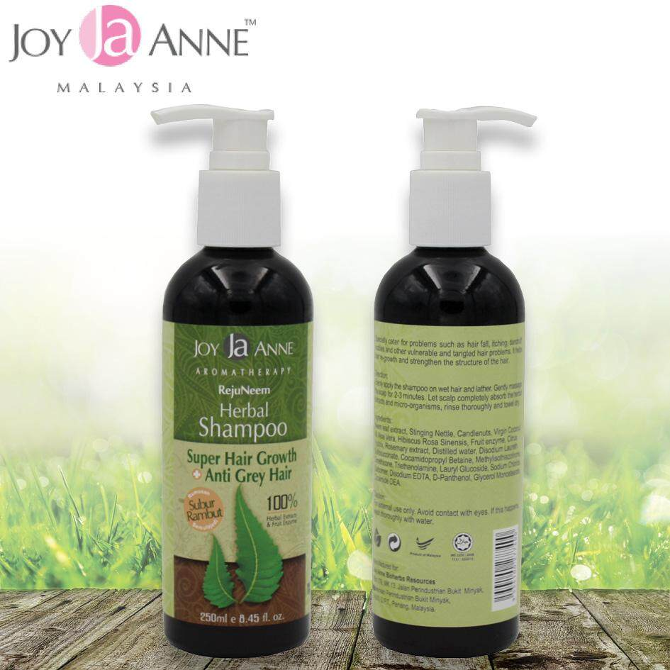 Halal All Natural Formula Joy Anne RejuNeem Herbal Shampoo Super Hair Growth + Anti Grey Hair 100% Herbal Extracts & Fruit Enzyme – 250 ml