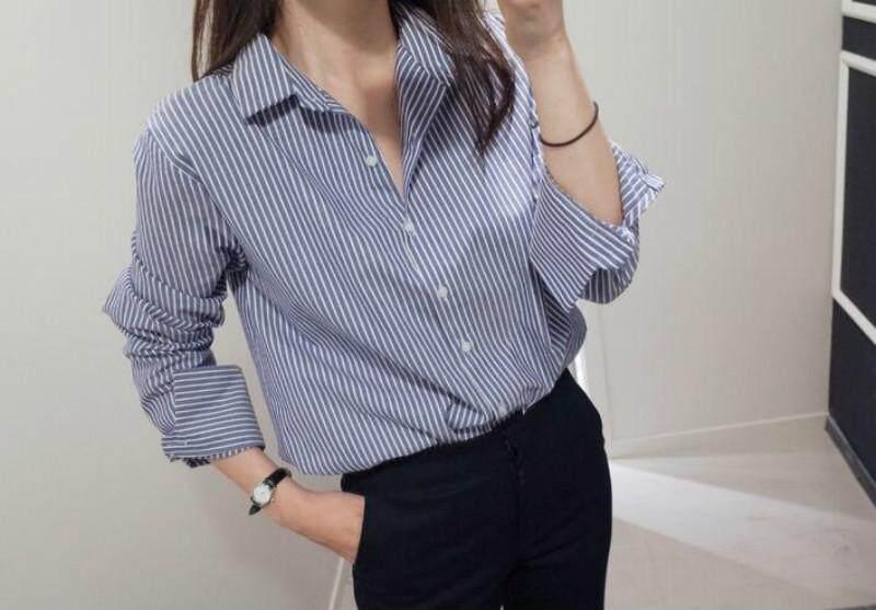 Wanita Kemeja Garis-garis Vertikal Kemeja Lengan Panjang Kemeja Korea Selatan Baru Biru dan Jaket