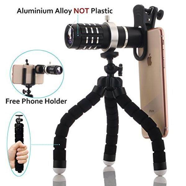 Zoom Lens, 12x Telephoto Zoom Lens Kit, Optical Camera Telescope Zoom Lens Attachment + Universal Clip + Phone Holder + Tripod for iPhone 8,7,6s,6,5s, Samsung Galaxy S8, S7, S7 Edge, Most Smartphone