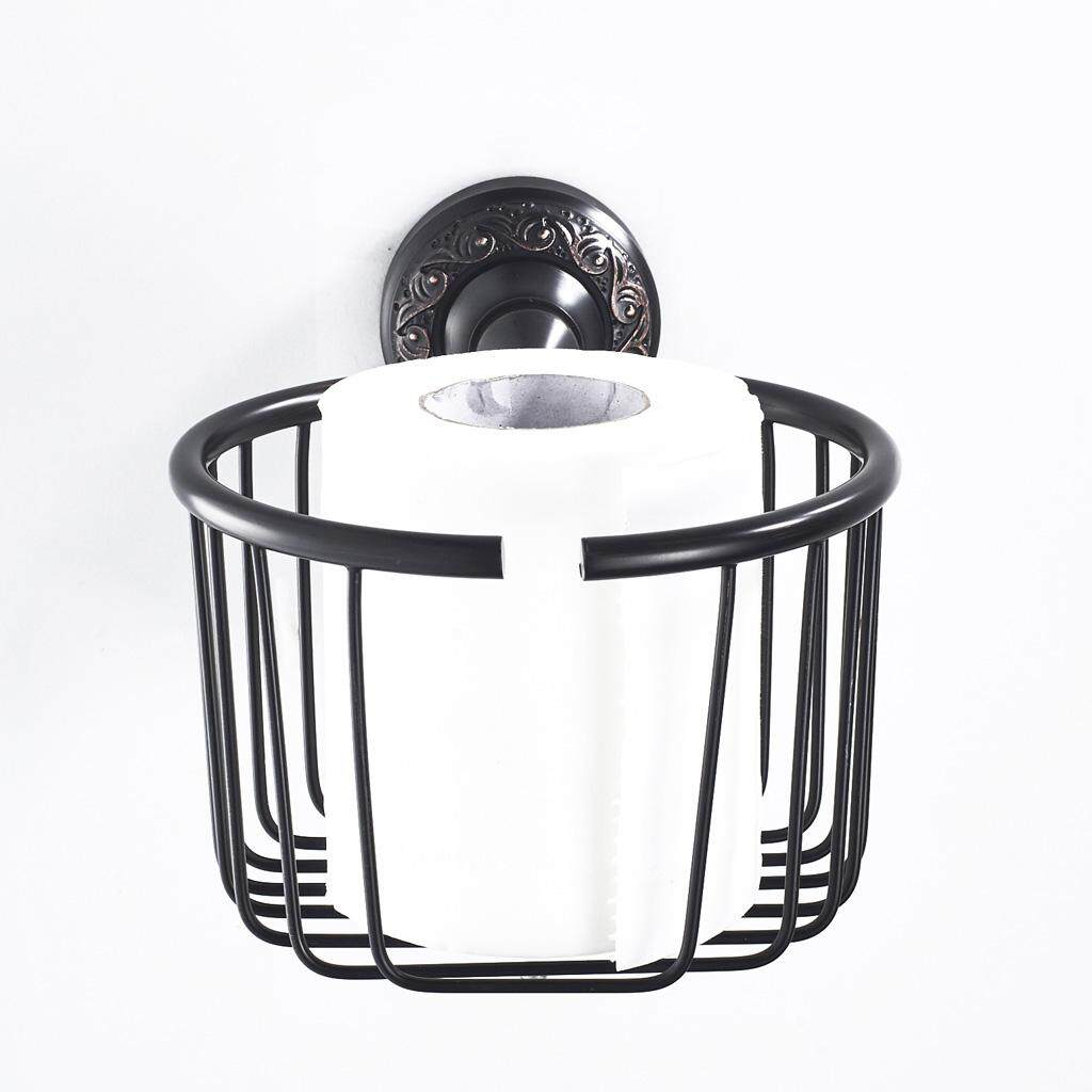BolehDeals Bathroom Paper Dispenser Roll Toilet Paper Holder Organizer Basket Black