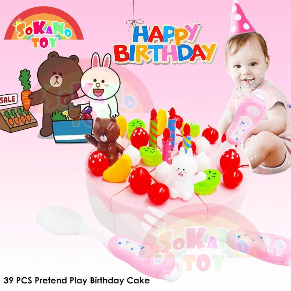 SOKANO TOY 39 PCS Pretend Play Birthday Cake DIY Cutting Fruit Birthday Cake Food Play Toy Set