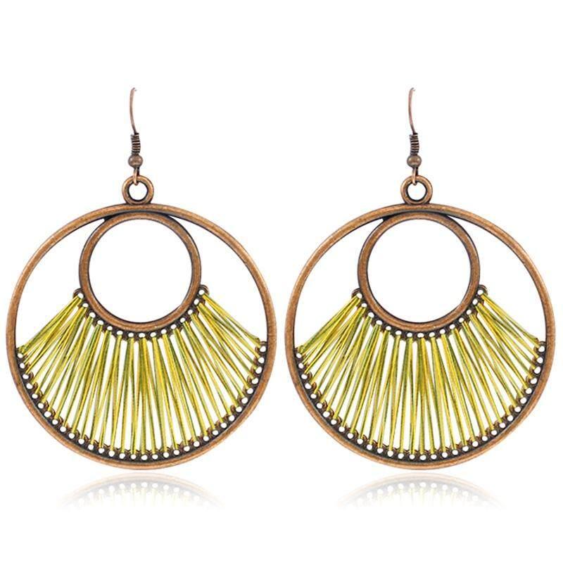 Kuhong Women Personality Fashion Geometry Double Rings Pendant Fine Earrings