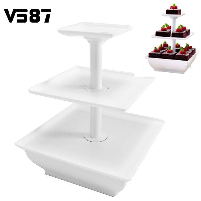 3 Tier Squar Wedding Cake Stand Cupcake Tower Dessert Stable Food Display Holder - Intl By Audew.