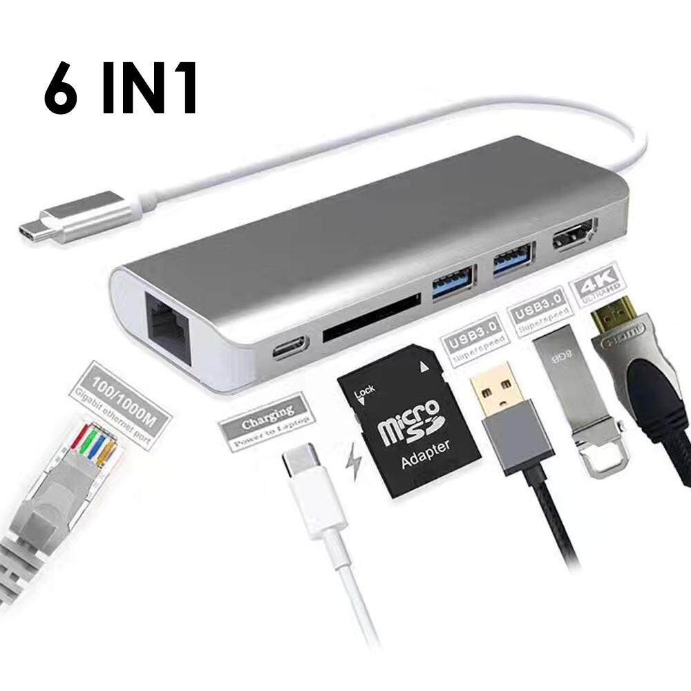 Rodeal USB C (Thunderbolt 3) Hub, Anble Multiport USB Type C MacBook Pro Hub With 4K HDMI, 2 USB 3.0, SD Card Reader,USB C Power Charging Delivery, 1000M Gigabit Ethernet Cable For MacBook - intl
