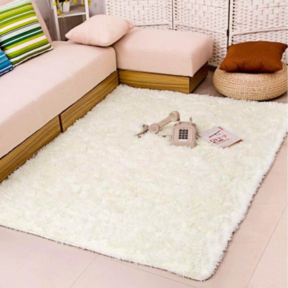 1.4 x 2m Fluffy Fashion Modern Floor Area Rug Carpet Mat Non-slip for Living Room Bedroom Bathroom Home Accessory Supplies White