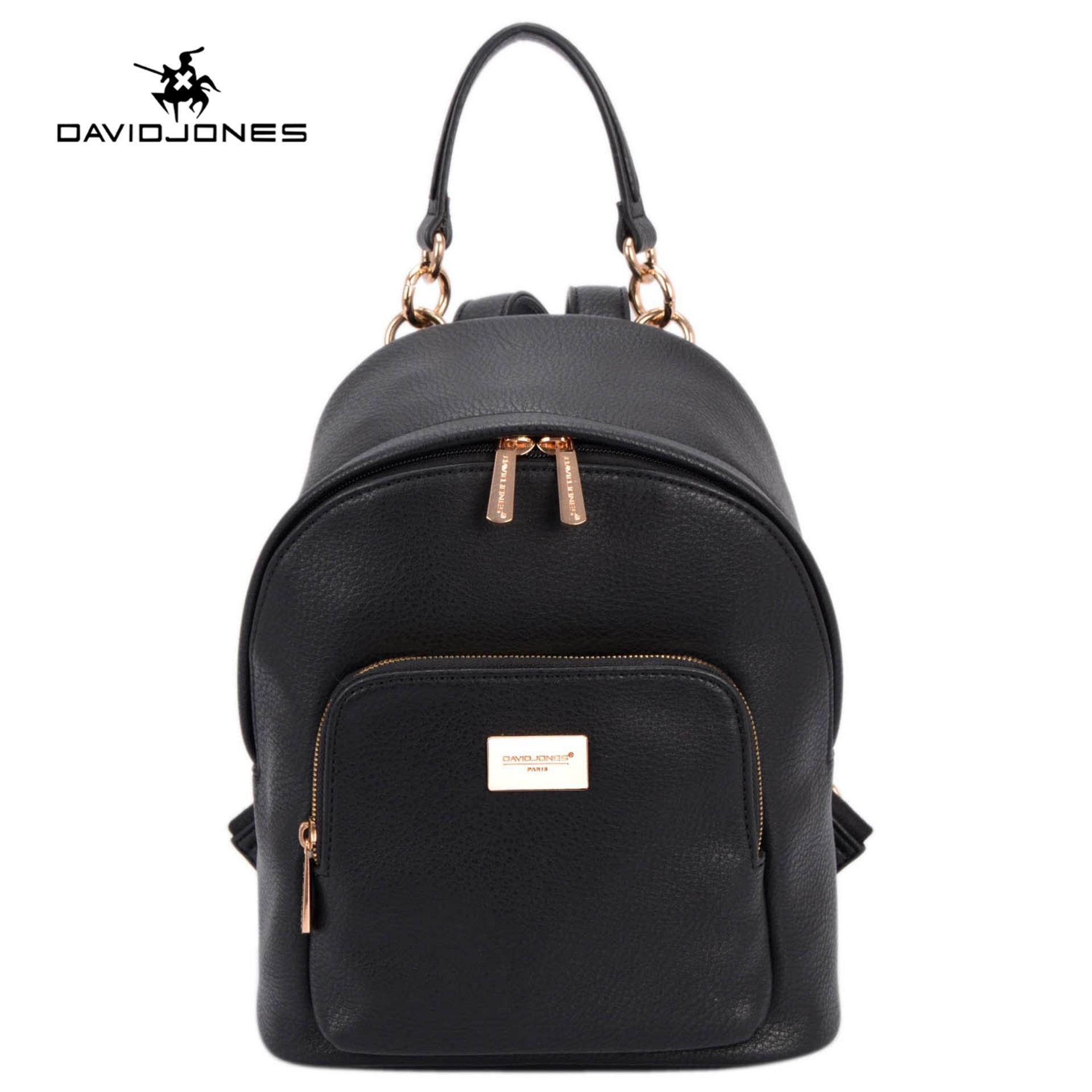 Davidjones Women Backpack Pu Leather Female Shoulder Bag Large Lady Plain Back Casual Book