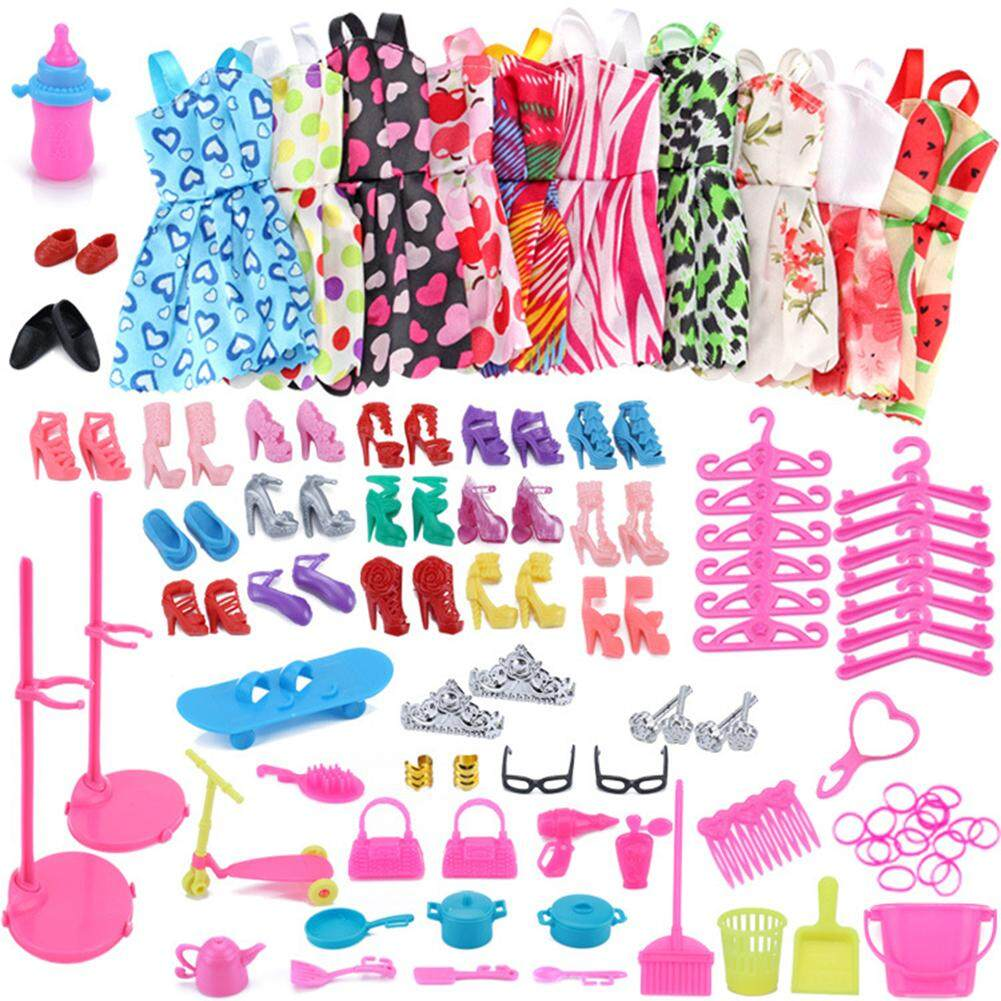 09def85fbee 10Pcs Set Fashion Mixed Style Dress Ornaments Shoes Accessories for Barbie  Doll Best Gift Girl