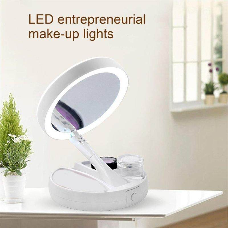 GOFT Double-sided LED Makeup Light Desk Mirror Folding Cosmetics Storage Mirror White