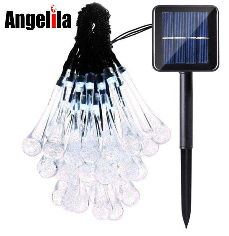 b92344213bc Angelila LED Solar String Light 30 50 LED Waterproof Water Drop String Fairy  Light Outdoor Garden