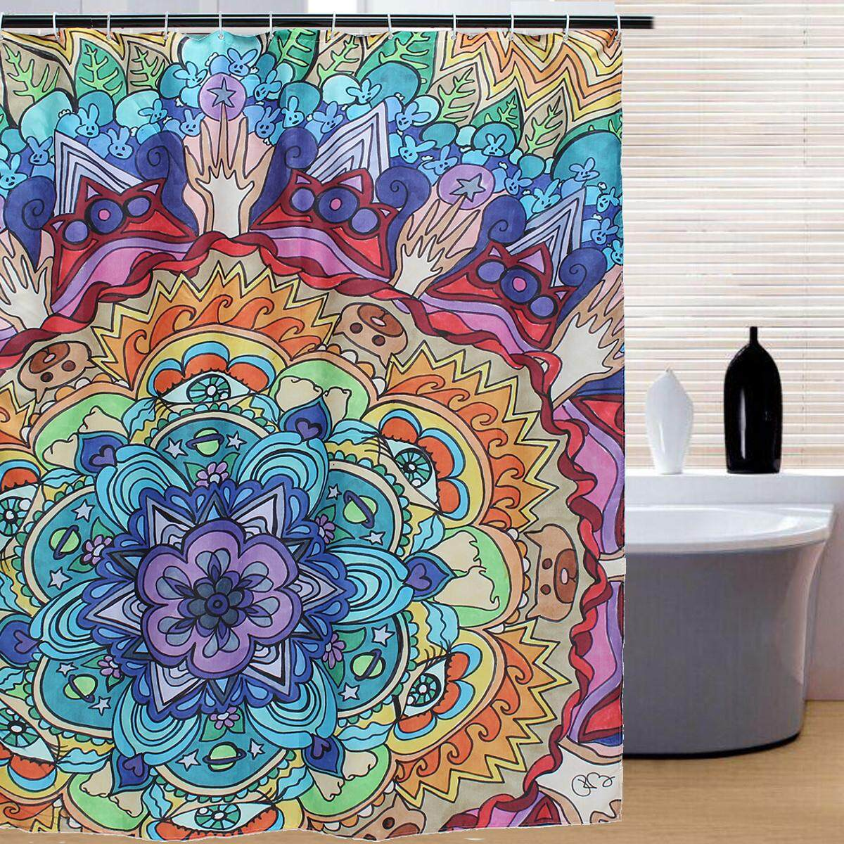 Shower Curtain Waterproof Polyester Fabric Beautiful Mandala Pattern Bathware By Glimmer.