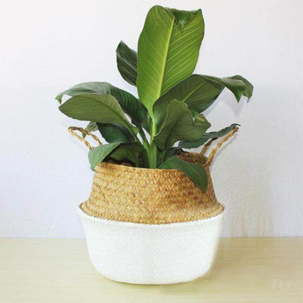 Simple Pastoral Style Woven Rattan Storage Basket Plant Toys Laundry Storage Holder Home Decoration
