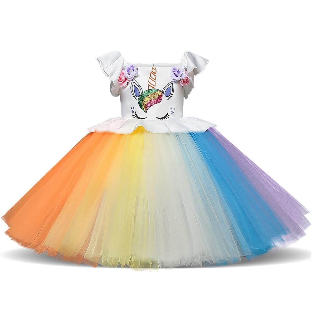 Veecome Baby Girl Pretty Colorful Mesh Tutu Princess Dress Halloween Christmas Performance Dress Nhật Bản