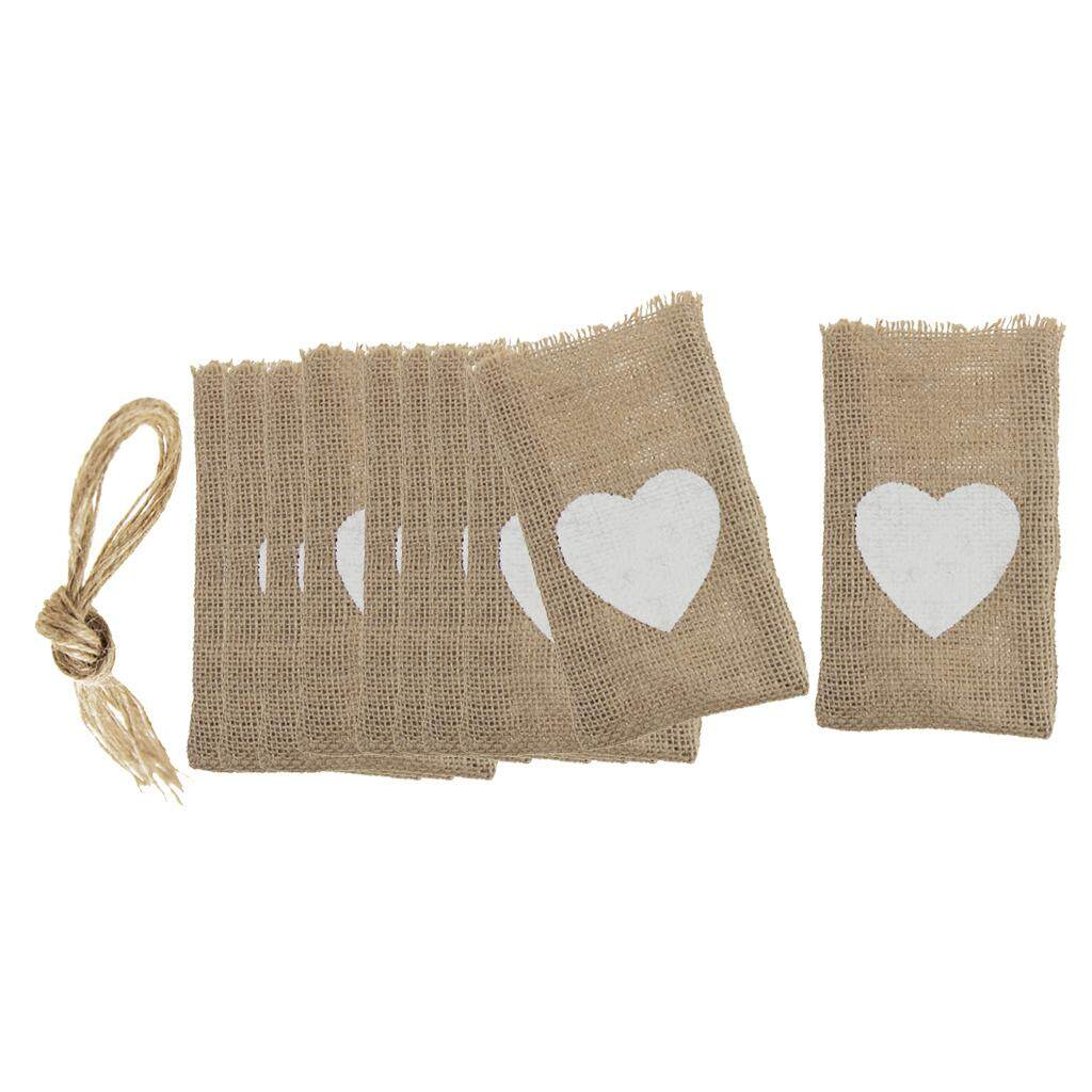 GuangquanStrade 10pcs/Set Heart Burlap Pouch Candy Bags Sack Wedding Party Gift Favor
