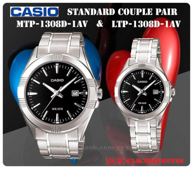 CASIO MTP-1308D-1AV + LTP-1308D-1AV STANDARD Analog Couple Pair Watch Date Stainless Steel Band WR50m MTP-1308 LTP-1308 1308 Series Malaysia