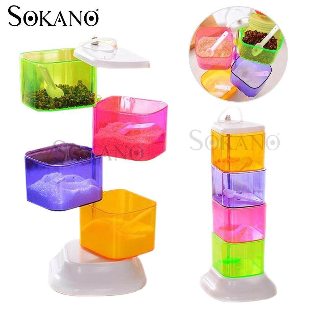 (RAYA 2019) SOKANO RA757 Multipurpose Creative 4 Tiers Seasoning Box Seasoning Rack Kitchen Dapur Rack