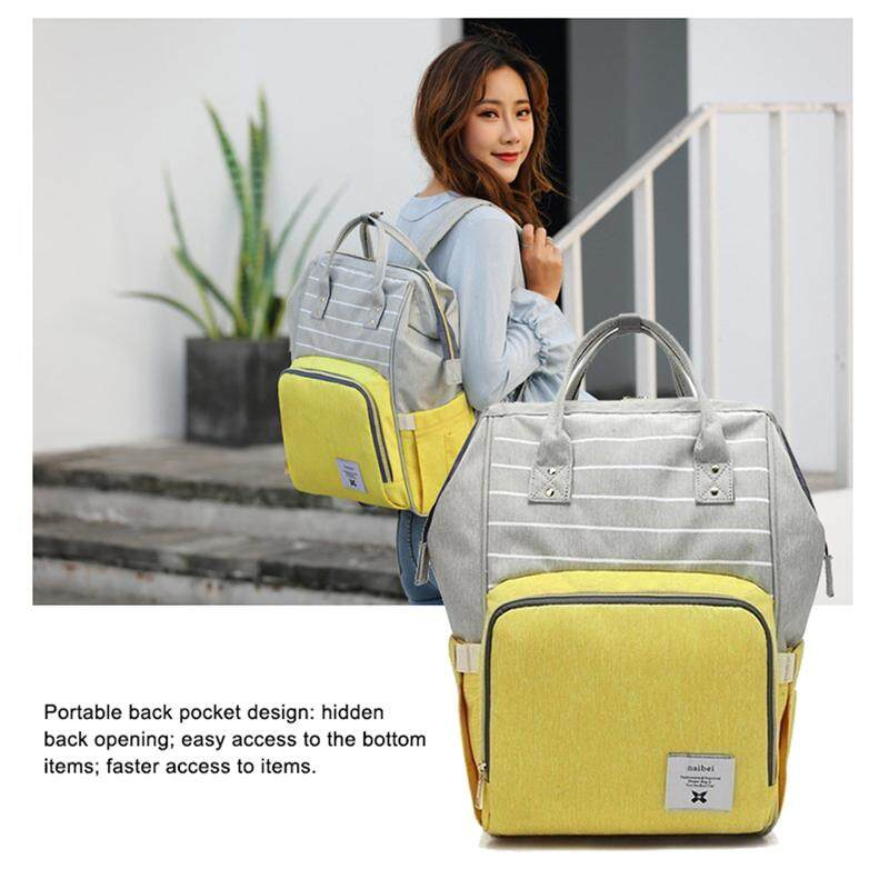 yellow fashion diapers large-capacity multi-function care bag children  travel striped backpack baby 077e657ede433