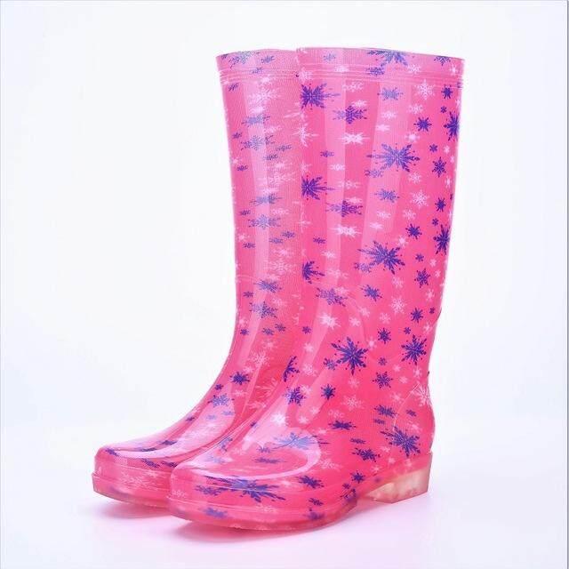 Fashion Wanita Kristal Pvc Warna-Warni Sepatu Bot Hujan Non-Slip Tetap Hangat Menolak Memakai Tahan Air Air Sepatu By Trends From Korea.